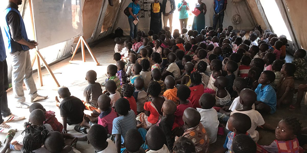 Children's classes in a refugee camp in Lunda Norte.
