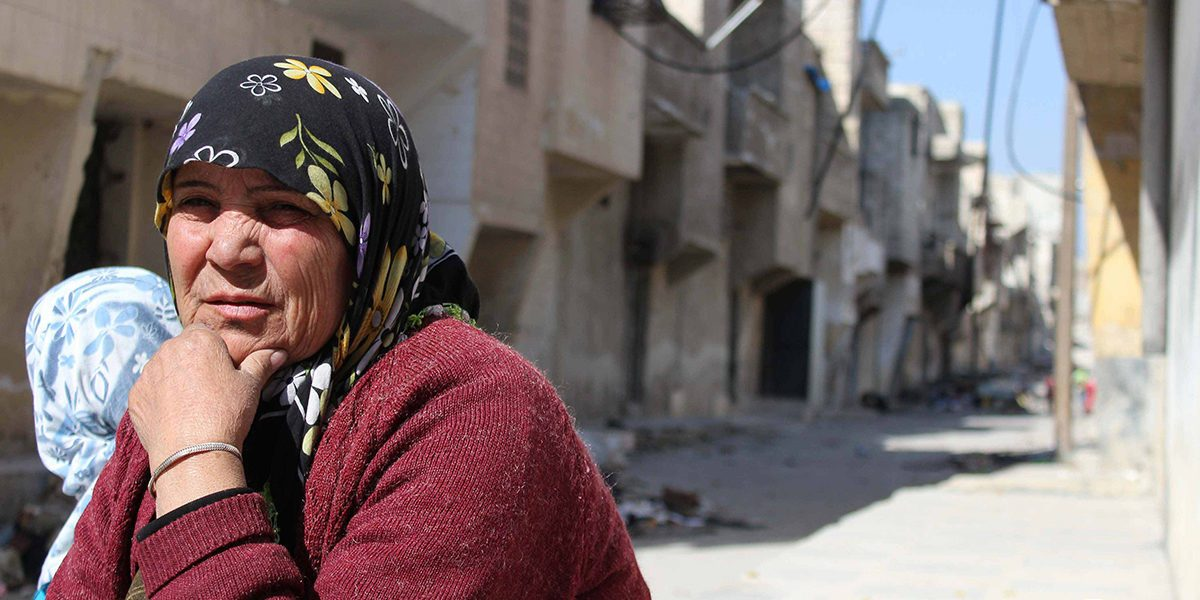 A Syrian woman in Al-Sakhour, Eastern Aleppo.