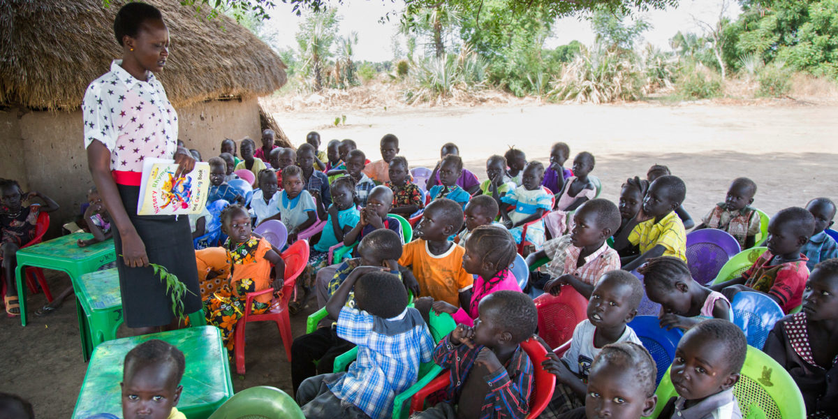 Children attend a class at the Gulawein school, in Maban, South Sudan.