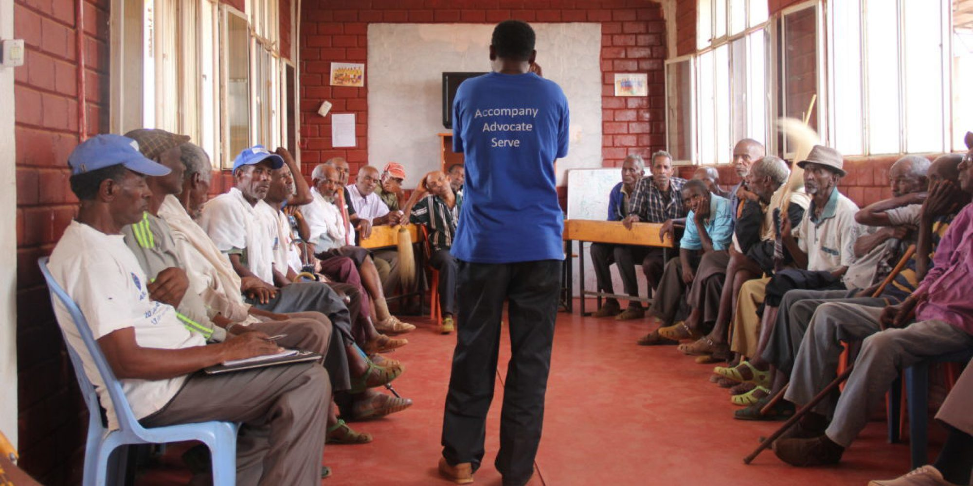 In Mai Aini refugee camp, northern Ethiopia, JRS hosts weekly meetings with Eritrean elders. The elders are given space to meet and time to express their concerns to JRS concerning food rations, health care, youth empowerment and other social issues in the camp.