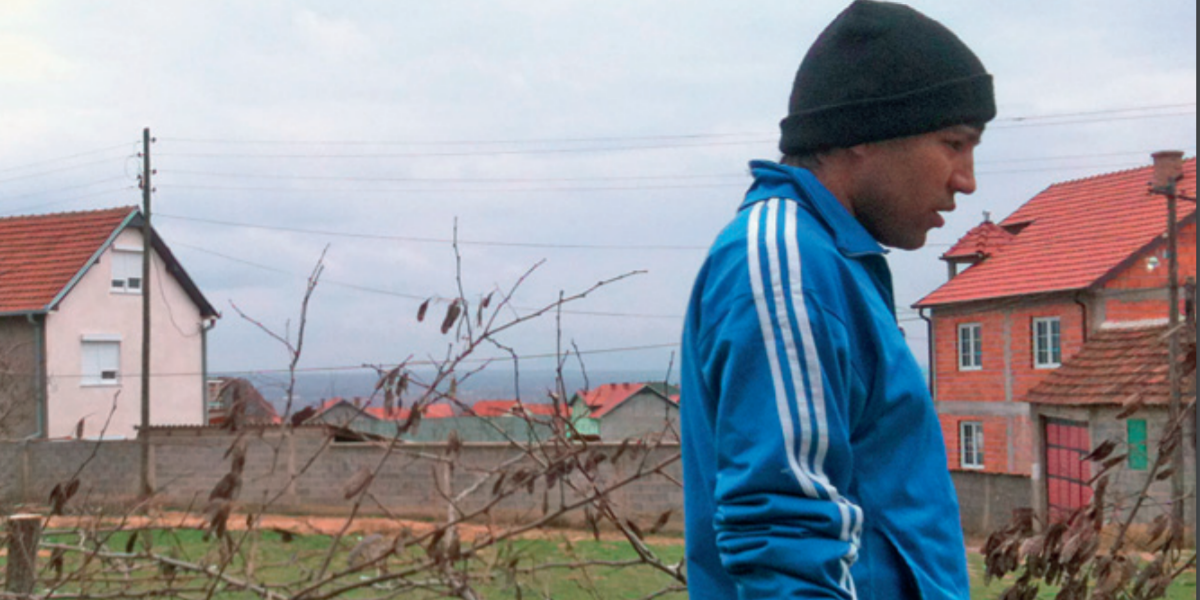 Un migrante en la ciudad fronteriza de Lojane, Macedonia.