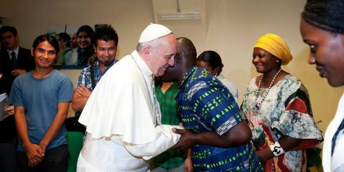 Pope Francis meets refugees during his visit at Centro Astalli.