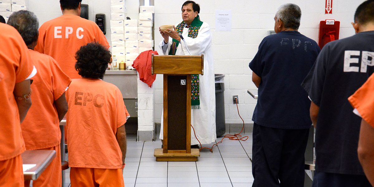 Fr Richard Sotelo SJ celebrates Mass for detainees at the Service Processing Centre for detained undocumented immigrants in El Paso, Texas.