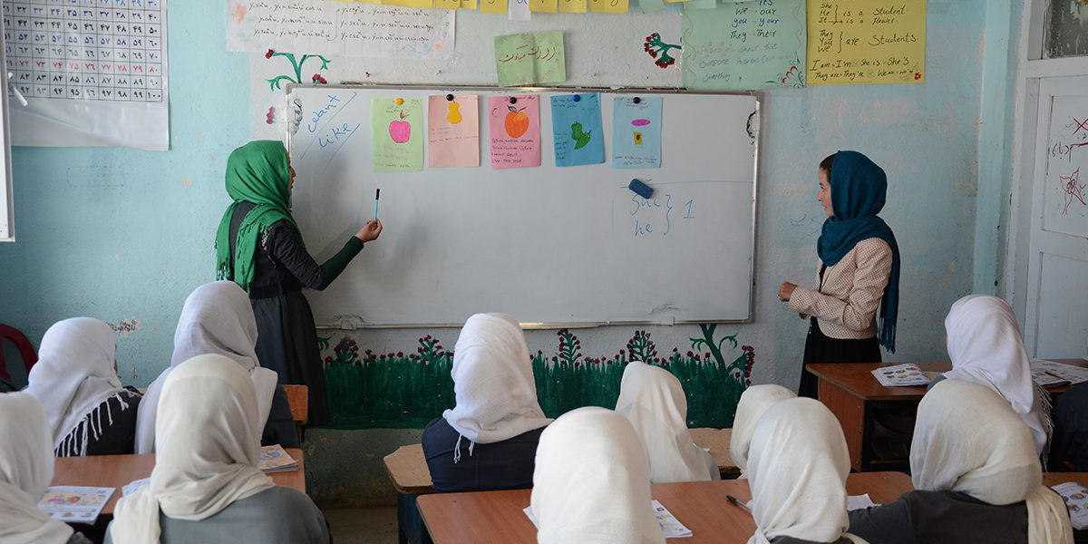 Students attending a JRS English class in Bamyan.