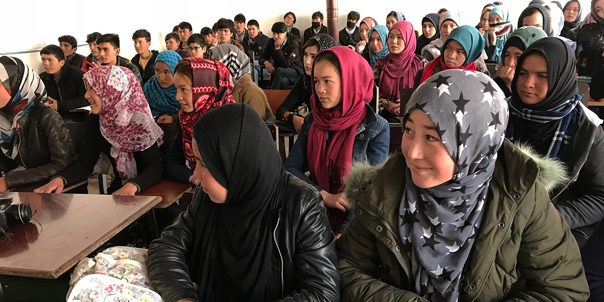 Girl students attend a class in Bamyan.