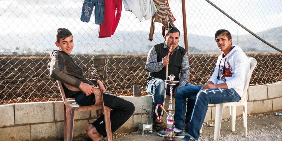Refugees in a camp in the Bekaa Valley.