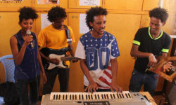 Music classes at the JRS centre in Mai Aini refugee camp.