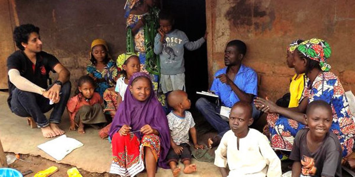 Jeevan James visiting refugees in Cameroon