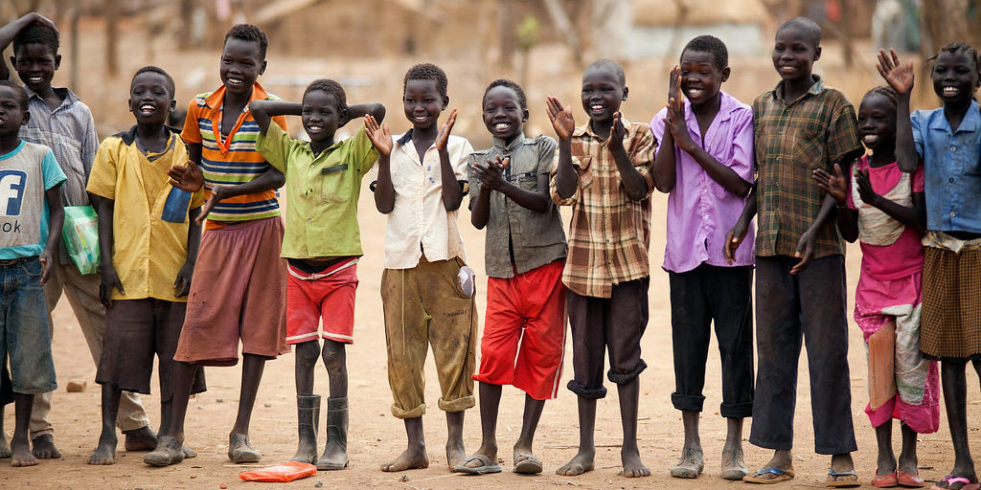 Children assemble before going to class at the Offra school, in Maban, South Sudan.