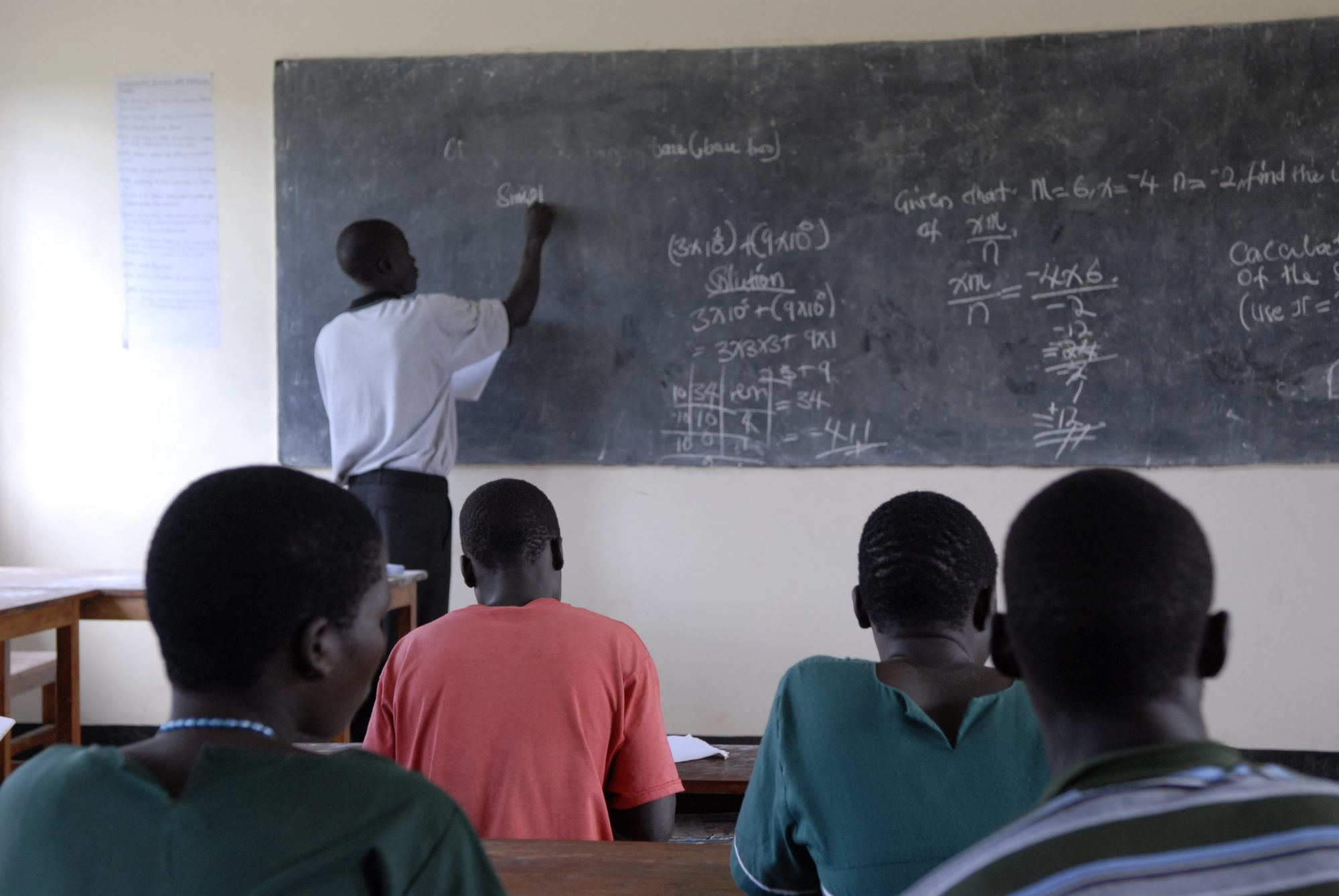 Students attending Math classes at Palwar Primary School, South Sudan.