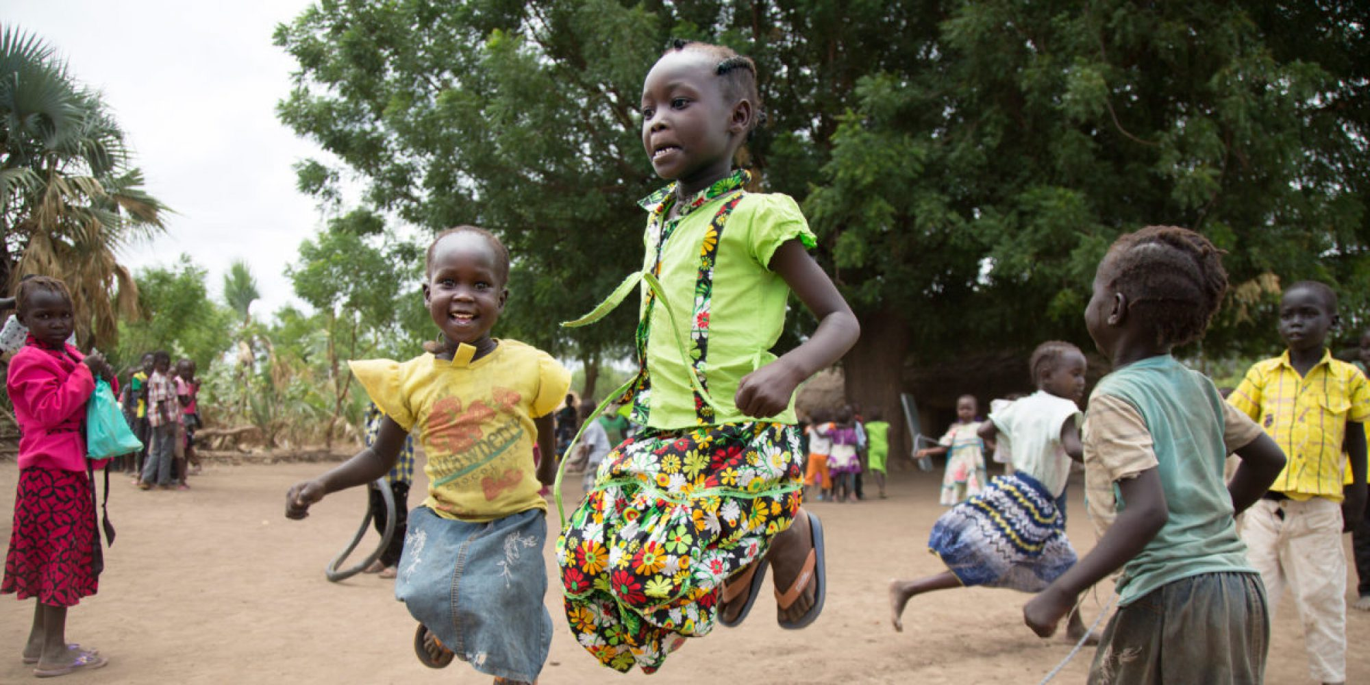 Children play after lunch at the Gulawein school, in Maban, South Sudan.