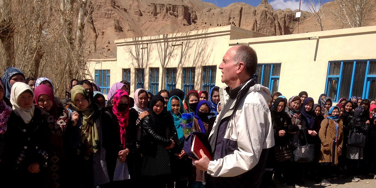 Tom addresses a group of girls in Bamyam, Afghanistan where JRS focuses on teacher training and women's education (Jesuit Refugee Service)