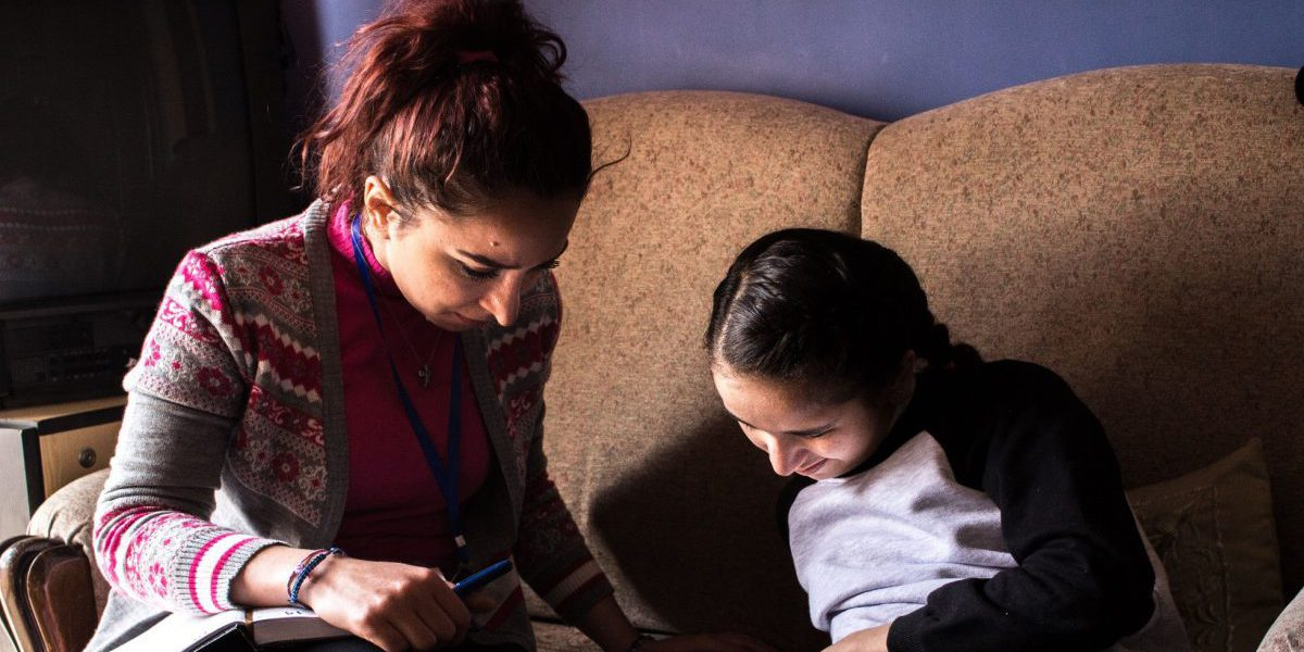 After her disability forced her to drop out of school in #Aleppo, Amina - a Syrian #IDP - taught herself to read and write. She refuses to lose sight of the future she has always wanted.