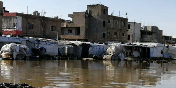 A refugee settlement devastated by severe weather in Lebanon (Jesuit Refugee Service)