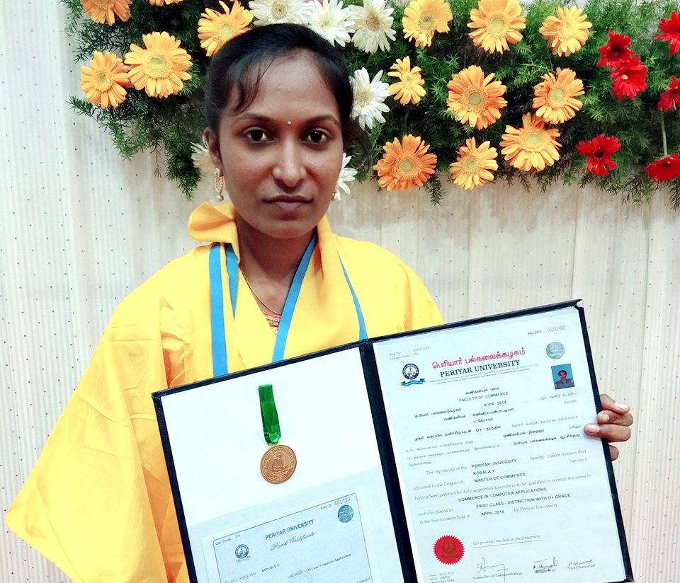 Kosala proudly shows off her degree. (Jesuit Refugee Service)