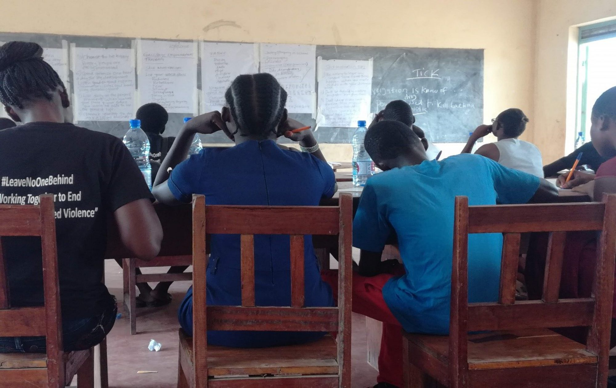 Young girls sit in a class on sexual and gender-based violence and self-esteem. (Jesuit Refugee Service)