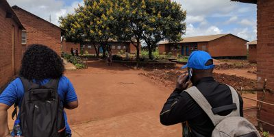 JRS staff visit a refugee camp in Malawi. (Jesuit Refugee Service)