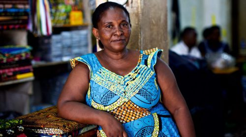 Refugee self-reliance: After graduating from JRS business class, Jeannette was granted a small no-interest loan from JRS. She now runs her own business in Kampala, Uganda. (Denis Bosnic/JRS)