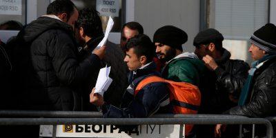 Des migrants et des réfugiés font la queue pour acheter des billets de bus afin de poursuivre leur voyage vers l'Europe de l'Ouest depuis la frontière entre la Macédoine et la Serbie. (Darrin Zammit Lupi / Service Jésuite des Réfugiés)