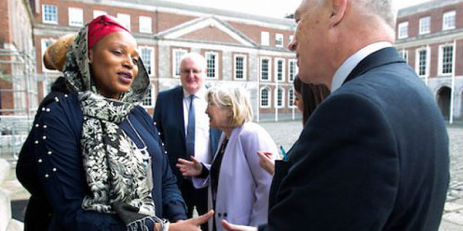Fatima Mofokeng, participant of JRS Ireland' Fáilte Project, and David Stanton, Minister of State for Equality, Immigration and Integration in Ireland.
