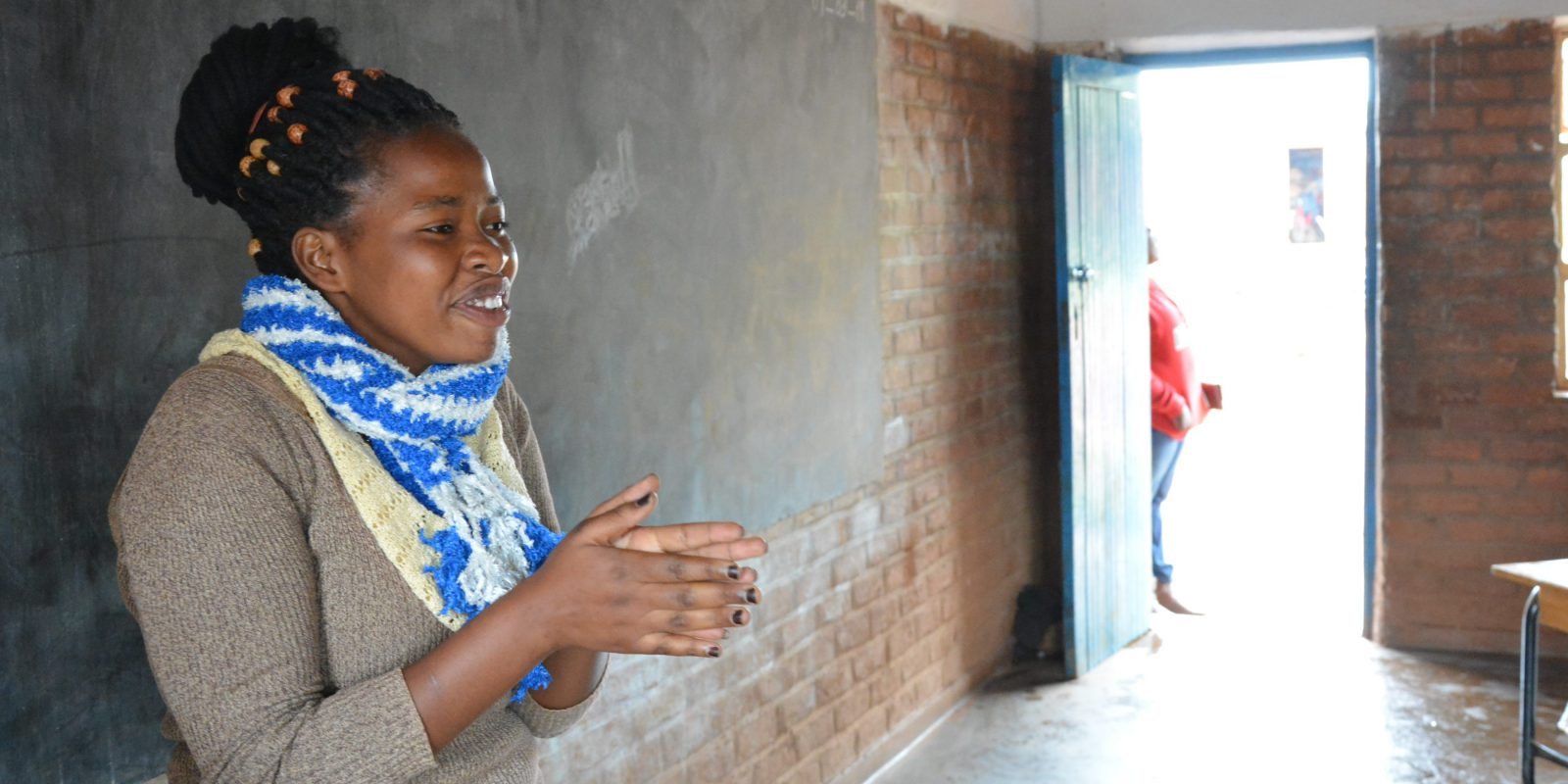 Claudine volunteers as a community social worker for the Naweza project in Dzaleka refugee camp.