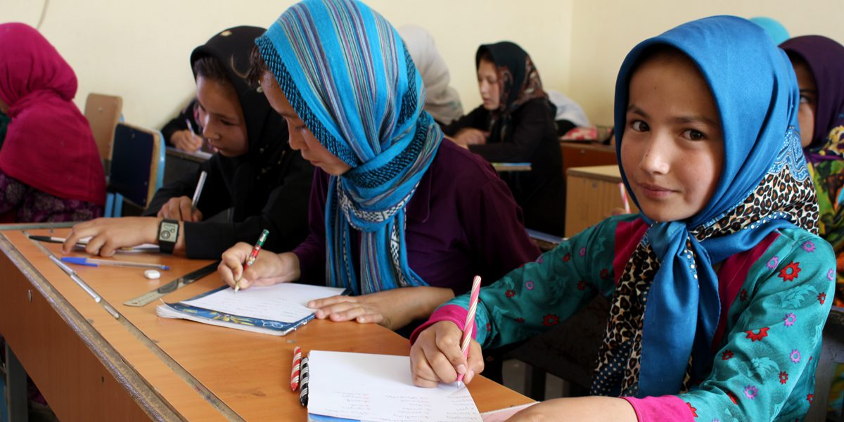 A JRS girl student attending classes in Herat, Afghanistan
