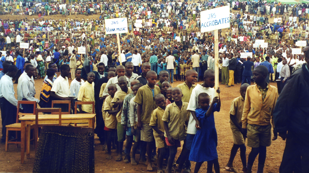 JRS students in the Byumba camp, Rwanda, in 1998.