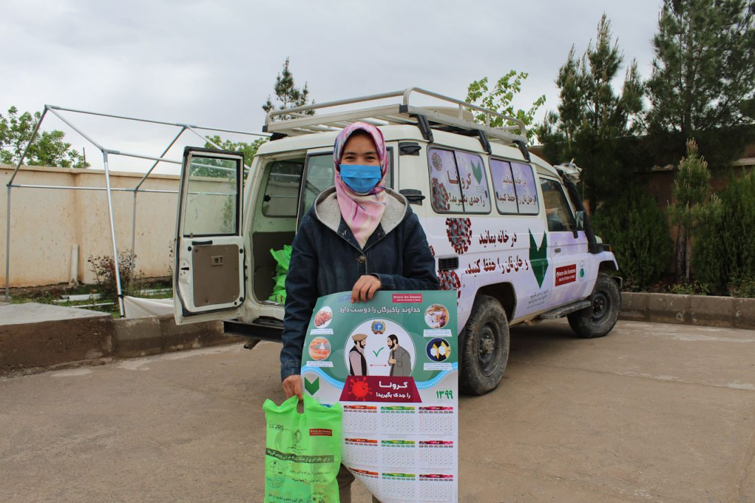 In Afghanistan, JRS and its local partners SOACS, MSO and HPVO, distributed 3,500 hygiene and informational kits to help students stay safe and healthy.