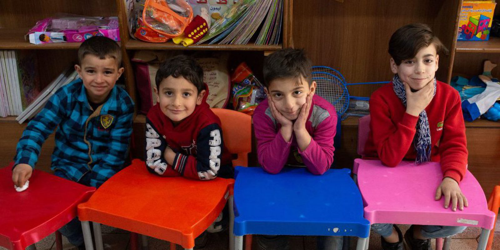 Young students at the JRS Child Friendly Space (CFS) in Aleppo, SFyria. (Jesuit Refugee Service)