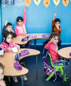 Children attend a JRS class at the Frans Van Der Lugt Centre, Lebanon.