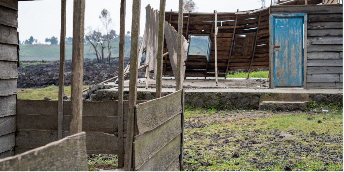 The secondary school in Mujoga damaged by the eruption.