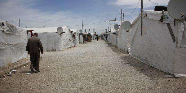 informal tented settlement ( ITS) in Telyani area in Lebanon's Bekaa vallety.